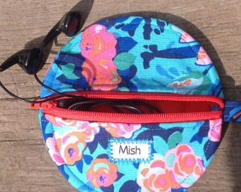 Earbud case,iPod accessories,iPhone earbud holder,Runners gift,Teacher gift,Pretty earbud,Android earbud container,Samsung earbud zip case