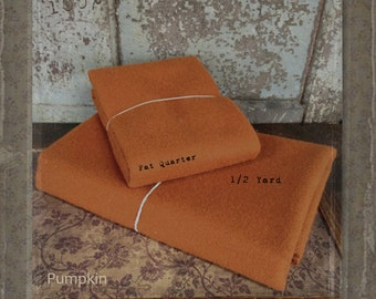 Wool: 1/2 YARD  pre cut 100% Wool - PUMPKIN - Marcus Fabrics