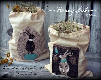 Pattern: Punch Needle Bunny Sacks by Doreen Frost for Vermont Harvest Folk Art
