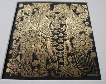 Elephant Print. Elephant screen print. Elephant illustration by Quantum