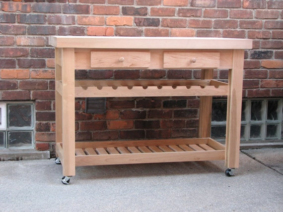 handmade solid maple butcher block rolling table with wine. Black Bedroom Furniture Sets. Home Design Ideas