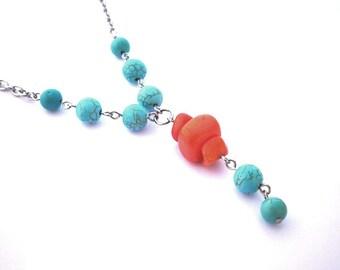Orange turquoise necklace, orange coloured medium size quartz chips, turquoise magnesite beads, stainless steel finishing, colorful, summer