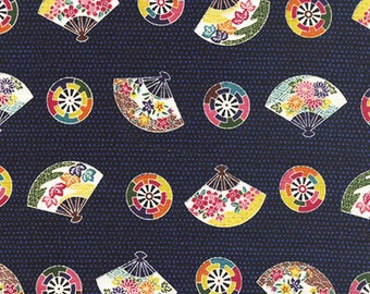 Colorful Fans & Charms:  Dotted Navy Blue Asian Japanese Fabric (1/2 Yd Increments)