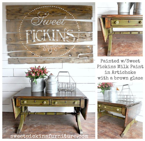 Sweet Pickins Milk Paint Color Artichoke Farmhouse Cottage Chippy Rustic Primitive