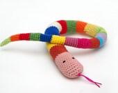 Amigurumi striped rainbow color snake, baby safe toy, stuffed animal, crochet cotton snake, striped snake, crochet reptile,  toy snake