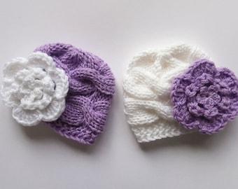 Baby Twins Hats - Newborn Baby Twins Hats  - Knitted Hats for Twins - Newborn Baby Hat Photo Prop - Newborn Baby Twins