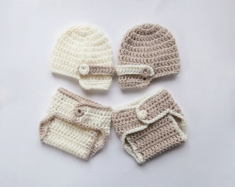 NewsBoy Hat Baby Boys Twins Outfits -  Hats and Diaper Covers for Twins - Crochet Newborn Photo Prop - Newborn Baby Twins