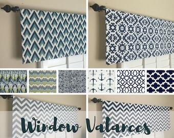 Kitchen Valance - Blue Window Valance - Kitchen Valance for Window