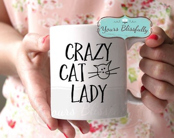 Crazy Cat Lady Mug, Cat Mug, Cat Gift, Cat Birthday Gift, Personalised Cat Mug, Gift for Cat Lover,  Cat Coffee Mug, Christmas in July Cat