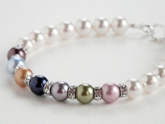 mothers pearl bracelet family birthstone bracelet swarovski