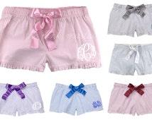 Monogrammed Ruffle Seersucker Boxer Shorts / Bridesmaid Present / Wedding Present / Greek