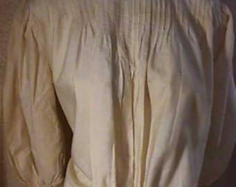 Antique Beige Cotton Blouse, Tiny Tucks at neck and front Med/Large  #1072