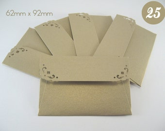 25 Mini Envelopes with notecards - Metallic Gold Leaf Envelopes - Wedding Guest Book Envelopes - Gift Card Envelopes