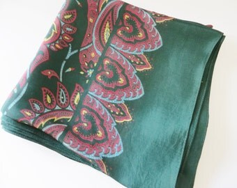 Vintage 1970's green, red and blue paisley scarf
