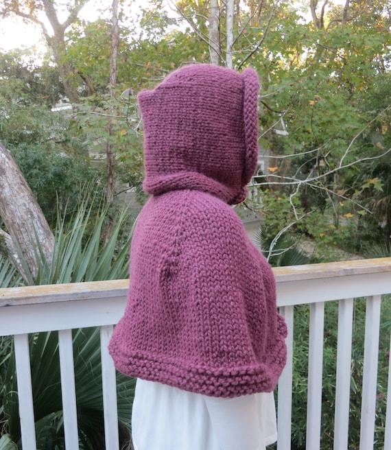 Poncho Knitting Pattern, Cape, Hoodie Poncho Bulky Yarn ...