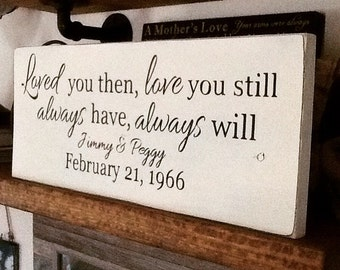 Loved you then, love you still - personalized names and anniversary date sign