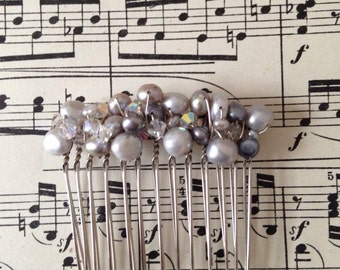 Sale Handmade Bridal Hair Comb Swarovski Crystal and Freshwater Pearls Light Grey Vintage Style