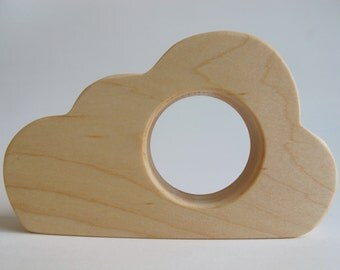 Wood Toy - Cloud Teether - organic, safe and natural for baby