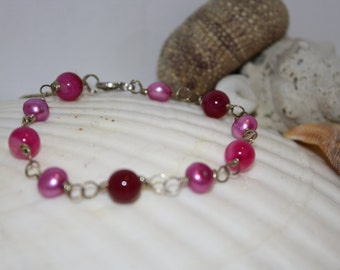 Pink Banded Agate w/Freshwater Pearls