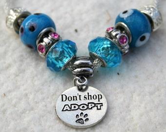 Don't Shop Adopt European Glass Beaded Bracelet Benefits Animal Rescue Dog Cat