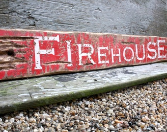 """Firehouse Sign Fire Fighter Wood Sign Rustic and Distressed 38"""""""