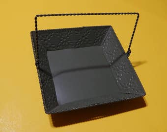 """6 1/2"""" x 6 1/2"""" Embossed Metal Dark Olive Green Square Tray Basket with Handle Kitchen Home Decor"""