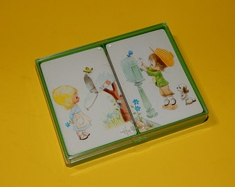2 Sets Playing Cards Little Boy + Girl at Mailbox
