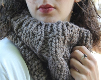 "Cabled Cowl, Taupe ""The Emma"""