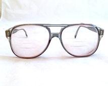 Vintage Aviator Mens Eyeglasses, Looking Glass, Gray Frame Prescription Lenses Men's Glasses, Coke Bottle , Bifocal Eyewear, Designer Frames
