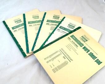 Boorum & Pease Accountant Work Sheet Pad  50 Sheet 2 Column, 4 Column, 6 Column, 8 Column, 14 Column, Lithographed, Numbered Lines Columns