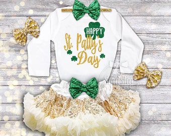 Happy St. Patricks Day Outfit Girls St. Pattys Day Shirt Baby Girl St. Patricks Day Shirt Trendy Outfit: Shirt, Skirt, Headband, Newborn-6T
