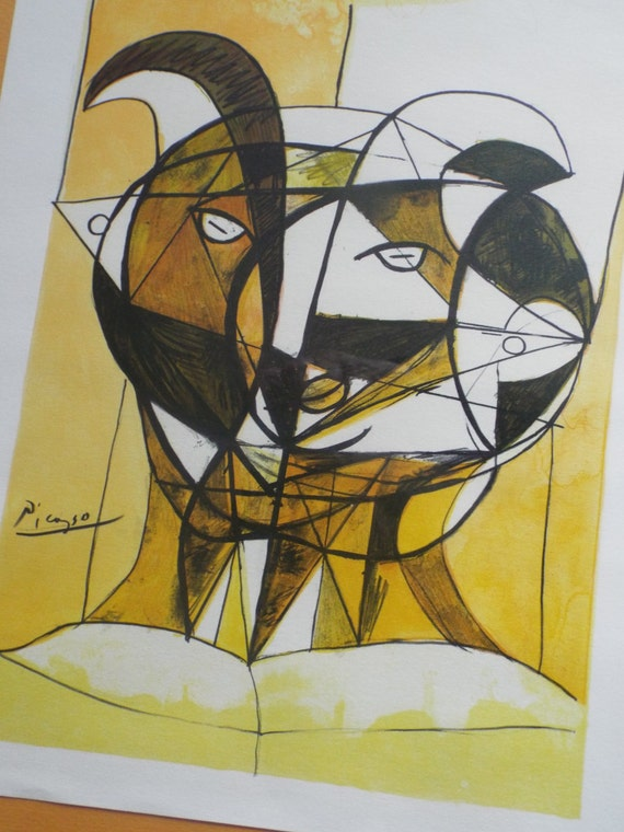 1960s Picasso Lithograph Satyr Fawn Goat Head Yellow Signed