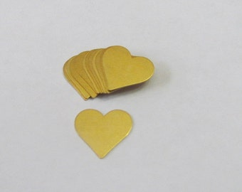 "3/4"" Brass Hearts -heart blanks - Tumbled brass blanks - Premium brass - pendant blanks - jewelry blanks  - Hand Stamping Blanks"