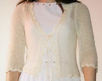 Wedding Bridal Bolero Shrug Lace Crochet Shrug Boleros Mohair Ivory