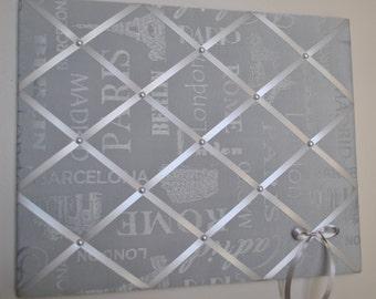 Memo board, memory board, vision board, fabric memo board, French memo board, notice board, fabric wall art, photo board, bulletin board