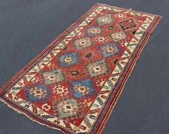 Antique 1910s Caucasian Kazak rug 3'4'' x 6'6''