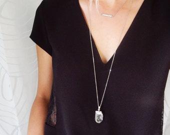 Silver Crystal Quartz Necklace