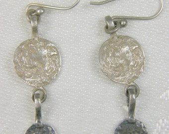 Silpada Primitive Style Textured 925 Sterling Silver Disk Dangle Earrings