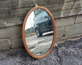 Vintage Stripped Oak Oval Mirror