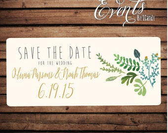 Wedding Save-the-Date Printed Postcard - Watercolor with Succulence postcard