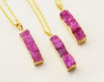 50% OFF Druzy Necklace Fuschia Druzy Pendant Pink Purple Druzy Necklace Personalized OOAK Ombre Purple Pink Fuschia Geode Layering Pendant