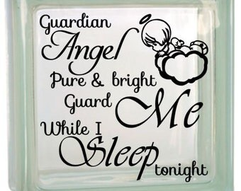 """Guardian Angel quote - for Ceramic Tile or Glass Block - Nursery or child's room - """"DIY"""" decal"""