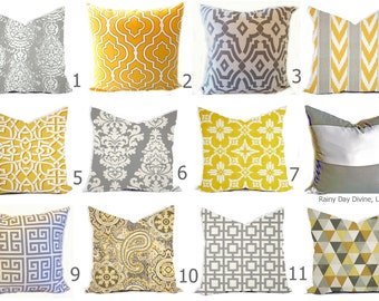 Outdoor Pillows or Indoor Custom Cover - Yellow Grey Gray White Modern Geo Quatrefoil - 16x16, 18x18
