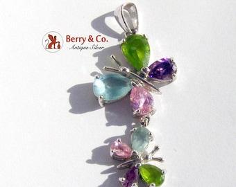 SaLe! sALe! Multi Colored Gem Butterfly Sterling Silver Two Butterflies