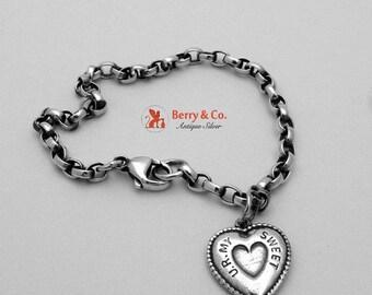 SaLe! sALe! Chain Bracelet Puffy Heart Charm Sterling Silver