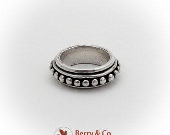 Beaded Spinner Ring Band Sterling Silver