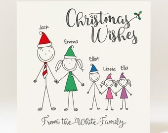 Hand Designed Personalised Doodle Family/Pets Christmas Card  - 145mm Square Card Available in Packs
