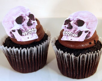 wedding cake toppers halloween cake topper edible skulls set of 12 diy cake decor - Edible Halloween Decorations