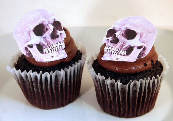 Edible Cake Decorations Halloween : Wedding Cake Toppers Halloween Cake Topper Edible Skulls Set