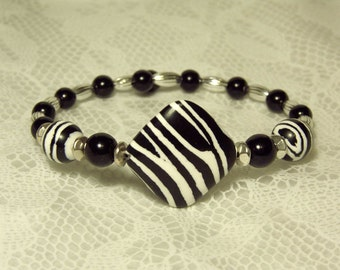 "Cynthia Lynn ""KENYA"" Black and White Zebra Animal Print Beaded Silver Cuff Bracelet (Fits Most)"